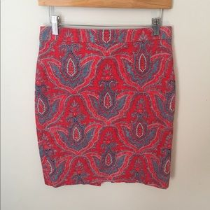 J Crew Red & Blue Printed Pencil Skirt Size 4
